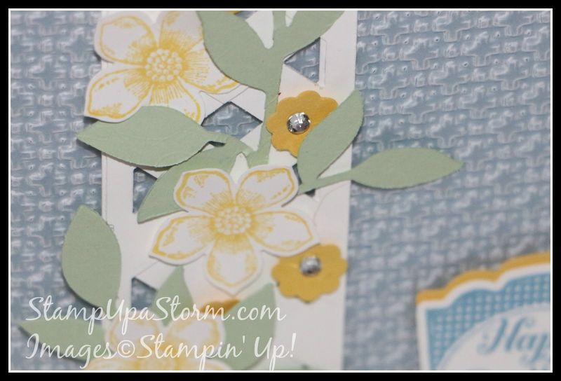Flower Vine Lattice Birthday Card Closeup