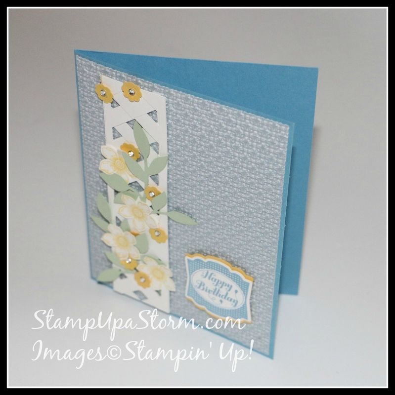 Flower Vine Lattice Birthday Card Top Angle