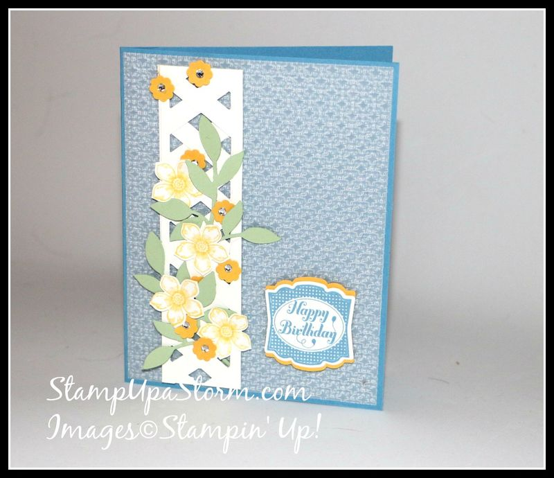 Flower Vine Lattice Birthday Card